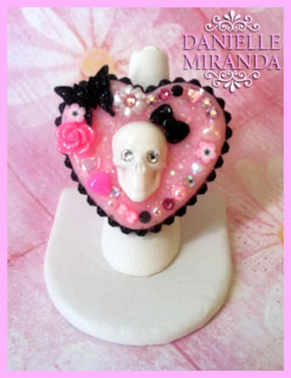 SALE ITEM Kawaii Free as a Butterfly Skull Sparkle Heart Ring