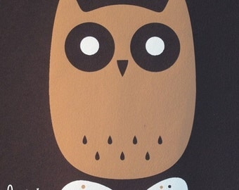 long-eared owl limited edition screen print