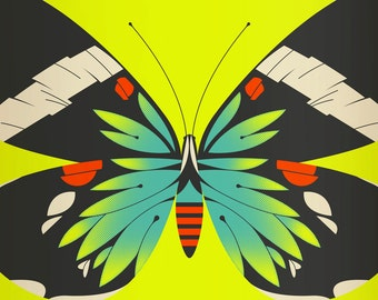 blue moth limited edition print (yellow version)