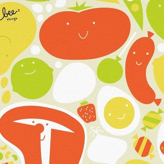 happy groceries print