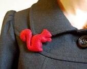 Bright Red Squirrel Brooch
