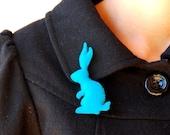 Teal Blue Rabbit Brooch