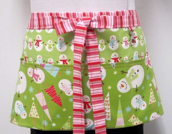 Winter Be Merry Green Snowmen Zipper/Key Clasp Vendor Half Apron