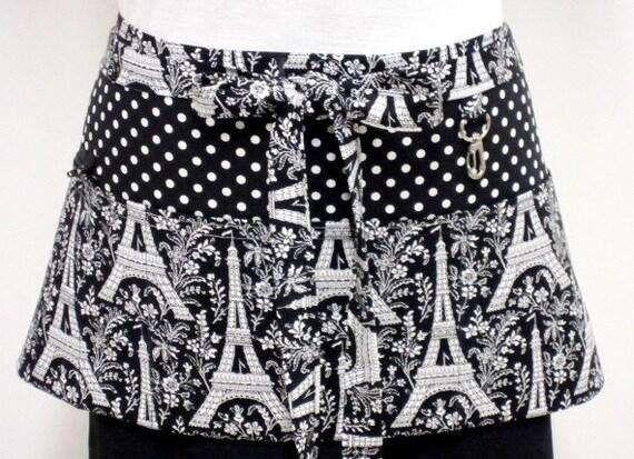 Eiffel Tower Choose Your Dots Zipper/Key Clasp Vendor Apron