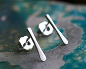 tiny silver line studs minimalist modern simple everyday linear sterling little small lines post earrings SILVER STRIA