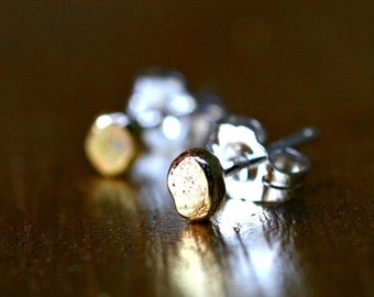 tiny gold studs earrings simple small modern artisan minimalist dot organic brass posts GOLD DUST STUDS