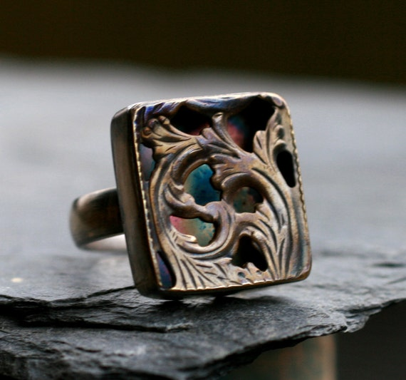 square cocktail ring gothic large chunky ring oxidized filigree hollow form CONFESSIONAL