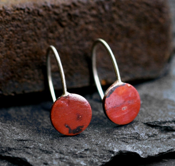 tiny copper dot earrings small hoops rustic rosy heat patina sterling silver modern minimalist Sunset Dot Earrings