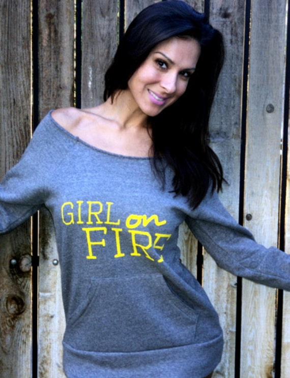 Girl on FIRE Off the Shoulder Girly Sweatshirt.  Size LARGE