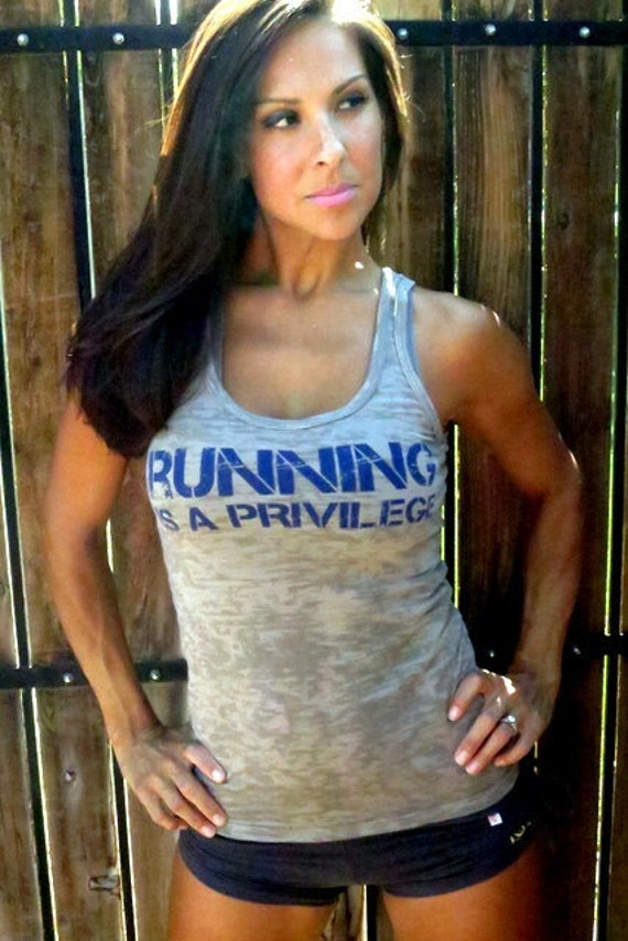 Running is a Privilege Burnout Workout Tank.  Size LARGE