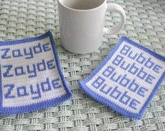 Bubbe and Zayde Knit Mugrugs