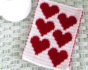 Knit Heart Mugrug Coaster