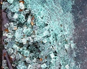 Abstract photography, Shattered Window, Pieces of glass. aqua. blue. green. unique wall decor 10X13 Fine Art Photograph In Stock