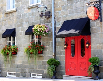 Old Door Photography Hotel Le Clos Saint-Louis Red Door Print Vieux Quebec Canada Photos Red Blue Gray Green Decor 8x10 Travel Photograph