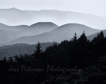 Blue Ridge Mountains Photography. Black & White Home Decor. NC  landscape photos. striking wall art 8x10 Matted to 11x14 Fine Art Photograph