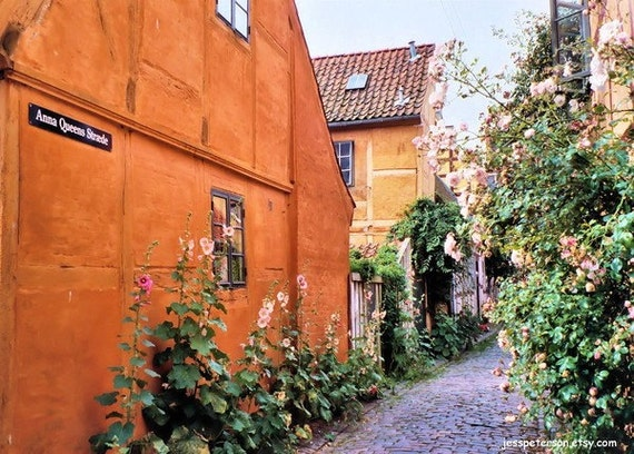 Denmark Travel photos Anna Queens Straade Helsingor  Cobblestone Street Scandinavian wall decor 5x7 Print Metallic Paper In Stock.