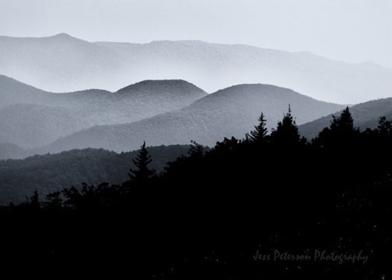 Blue Ridge Mountains Photo. Black & White Decor NC  landscape photos. striking wall art 5x7, 5x7 matted to 8x10 Fine Art Photograph In Stock