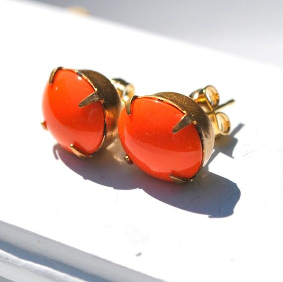 Vibrant Orange Stud Earrings