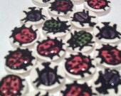 MOSAIC TILES- 21 handmade, handglazed clay tiles,fun, BEETLES  new lower price