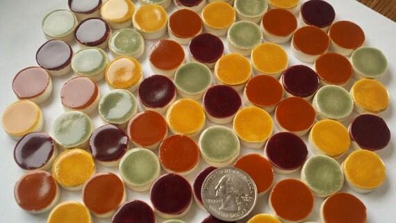 Sale! Sale! MOSAIC TILES  -80  handmade, hand-glazed mosaic tiles Fall/ AUTUMN colors