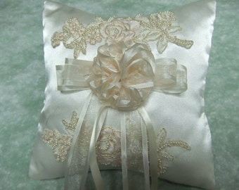 Ivory Satin Ring Pillow With Beaded Motif Ring Bearer - Made to Order
