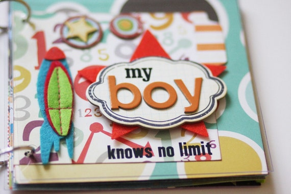 My Boy Knows No Limit Mixed Media Acrylic Premade Mini Album 6x6