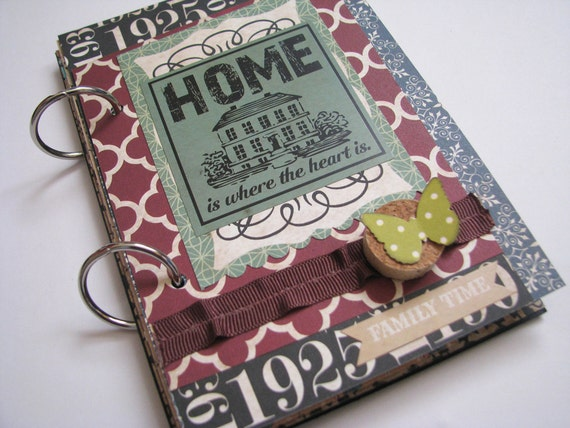 Home is Where the Heart Is Vintage Style Family Time Premade Mini Album Family, House Warming, Wedding, Anniversary