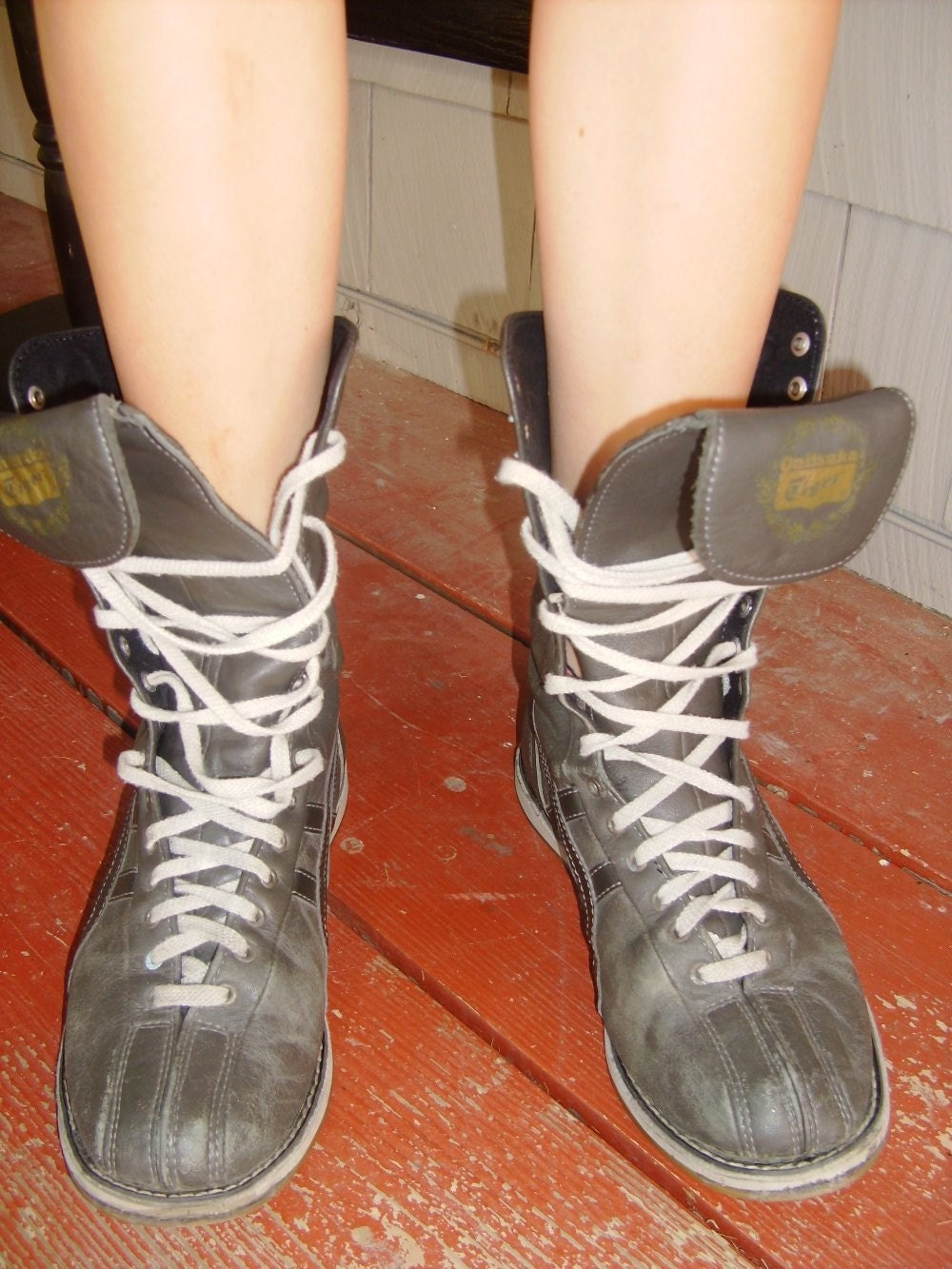black leather vintage s boxing boots by evascloset on etsy