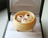 Miniature Food Ring - Dim sum Pork Buns Ring - Cute Kawaii Food Jewelry