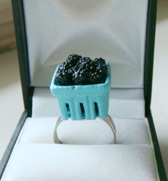 Blue Raspberries Ring - Cute Kawaii Miniature Food Jewelry