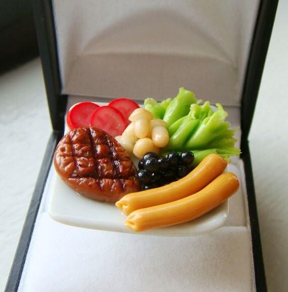 Miniature Food Ring Meat Plate Ring Cute Kawaii Food