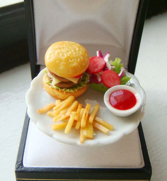 Miniature Food Ring Cheeseburger Meal Ring Cute By Minimania