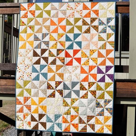 Fall Back Modern Pinwheel Quilt
