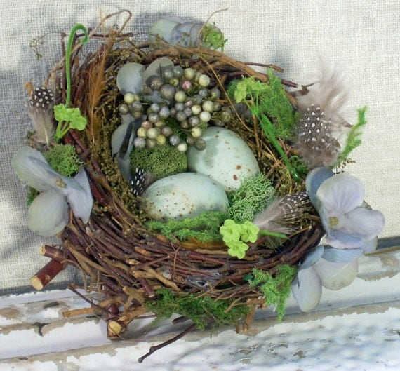 beautiful hand decorated birds nest w robins egg blue