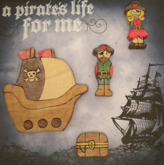 Waldorf Inspired Children's Wooden Pirate Ship Play Toy Set