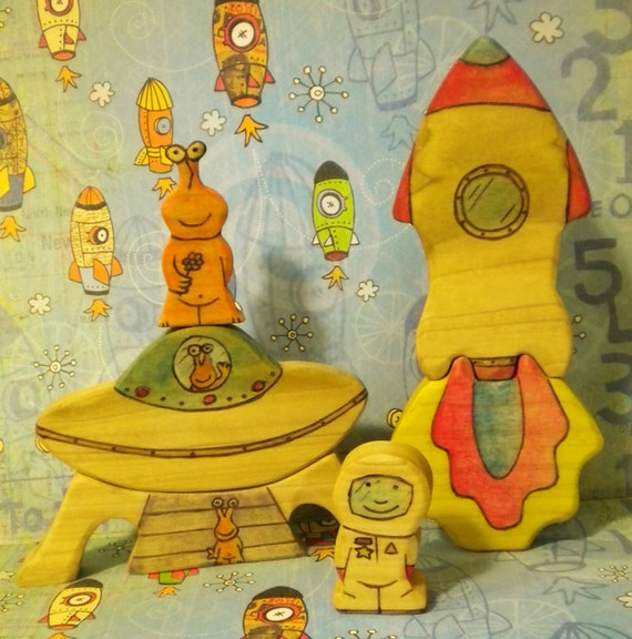 Waldorf Inspired Kids Play Wooden Rocket Ship Spaceman UFO and Alien Set