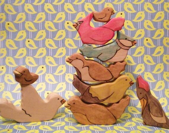Waldorf Inspired Kids Wooden Little Bird Watching Toy Play Set