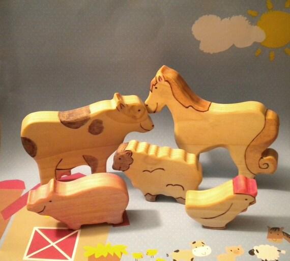 Waldorf Inspired Kids Wooden Farm Animals Play Toy Set