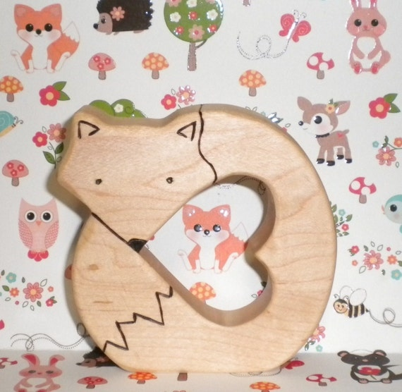 Waldorf Inspired Baby's Wooden Maple Teething Ring Clutch Toy Fox