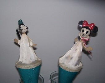Vintage Victorian Style Disney Puppets Minnie and Goofy