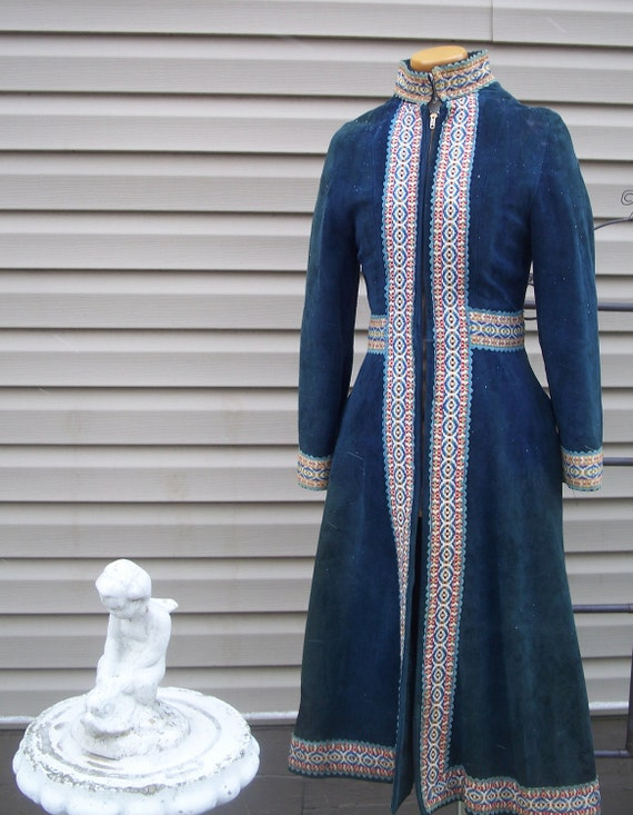 Vintage Suede Leather Nehru Full Length Swing Coat late 1960s