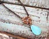 Soft blue chalcedony drop