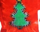 Christmas tshirt tree tie dye short sleeve holiday tye dye adult small, medium, large xl, 2x, 3x