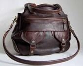 Onishi bag in brown buffalo hide - clip on cross body strap