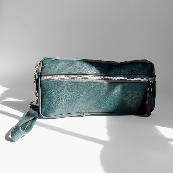 Large wristlet clutch in hunter  - fits e-ticket and pass port