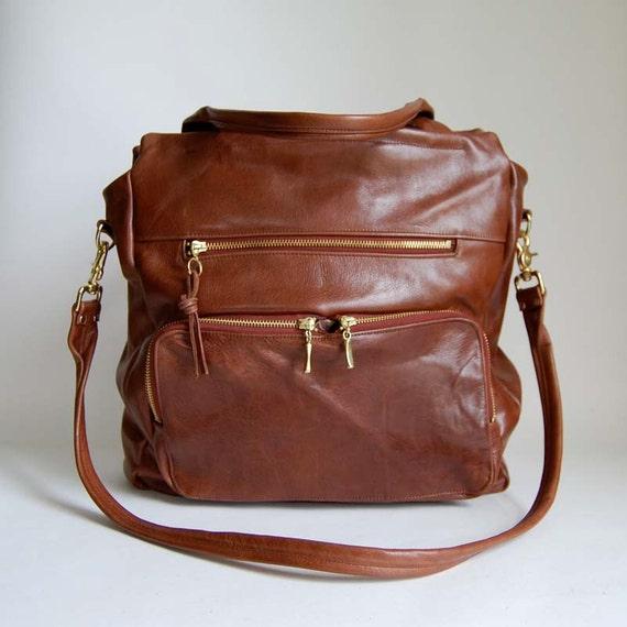 SALE - 4 pocket tall Willow bag in redwood - work bag - computer bag