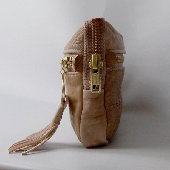 SALE - 4 pocket large wallet in nude