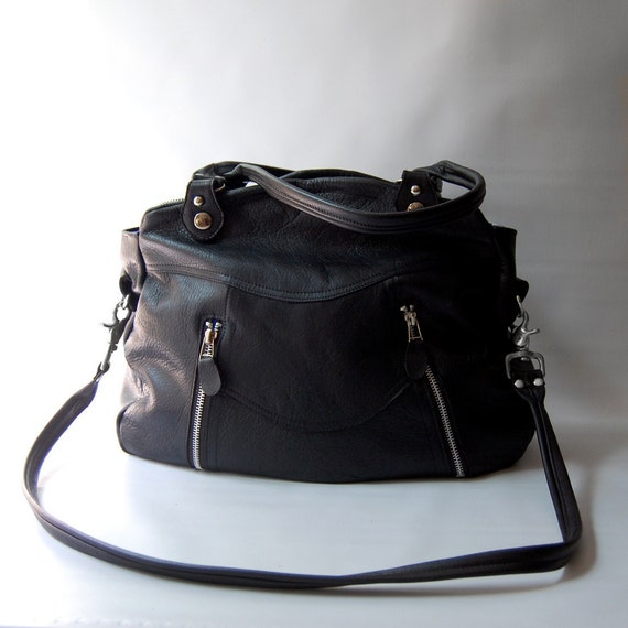 SALE - Larch bag in black - silver hardware
