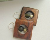Chunky Wooden Earrings - Large Square Beads