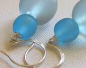 Urchin - Seafoam Blue Resin Earrings with Sterling Silver Hooks